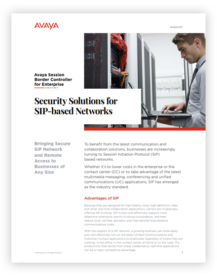 Security Solutions For SIP-Based Networks Whitepaper
